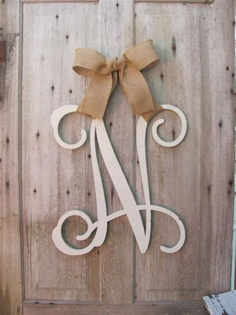 wood initial door wreath wribbon front door wreaths