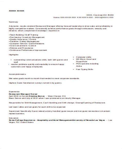sle restaurant server resume 6 exles in word pdf
