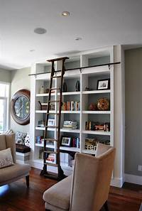 magnificent living room ladder bookshelf Library Bookcases with Ladders