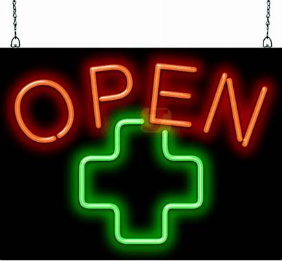 Neon Sign Cross Gsz Open Medical