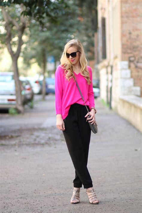 cecelia ny collaboration neon pink sweater tapered