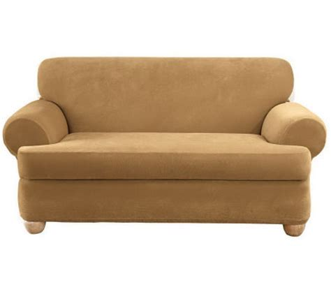 sure fit stretch pique 3 t cushion sofa slipcover qvc