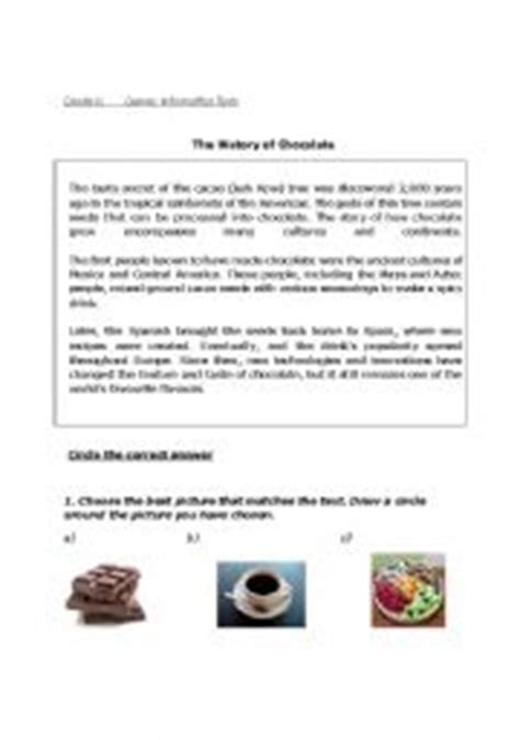 worksheets the history of chocolate