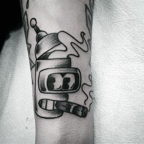 bender tattoo designs  men futurama robot ink ideas