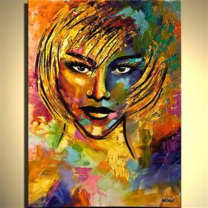 Figure painting - colorful painting of blond woman face ...