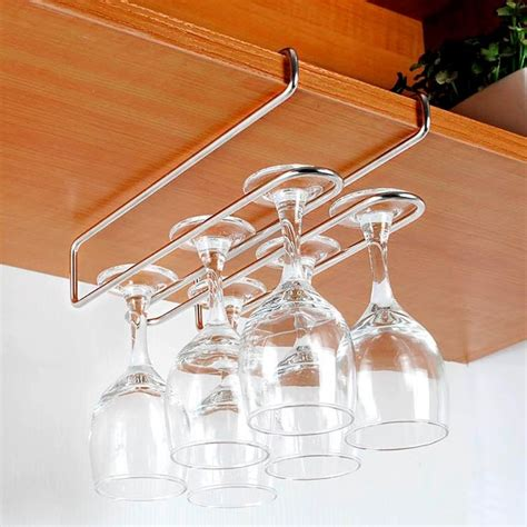 Wine Rack For Cupboard by Stainless Steel 2 Rows Cup Holder Wine Glass Hanging Rack