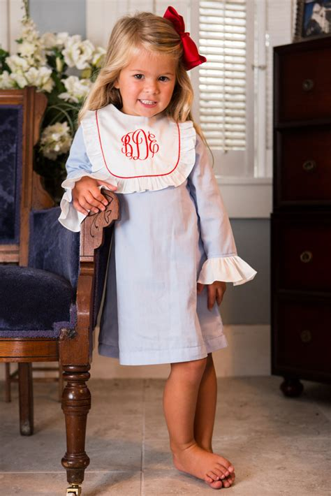 monogram bib dress childrens clothing smocked heirloom