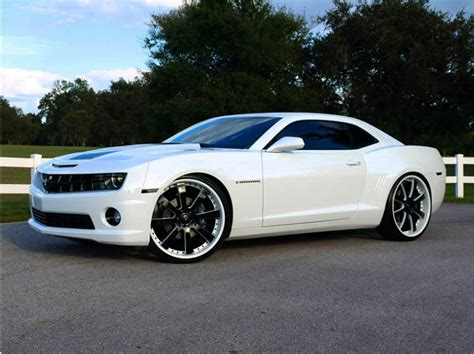 White Chevy Camaro 24inch Savini Wheels  Big Rims