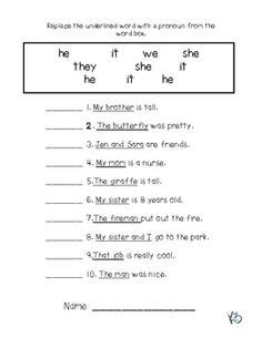 worksheets for grade 1 pronouns resume cover letter