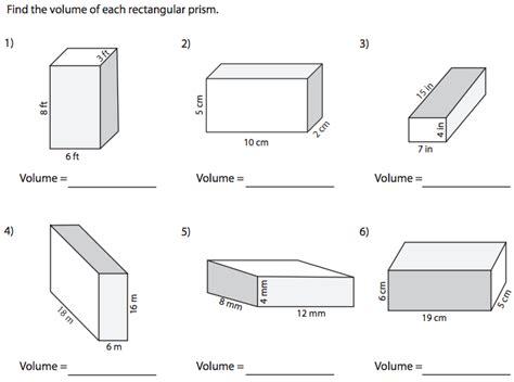 volume of a rectangular prism worksheet worksheets for all