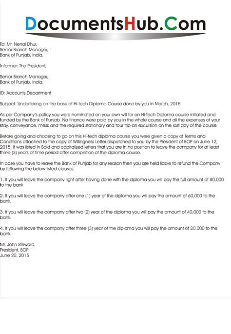 undertaking letter format  employee documentshubcom