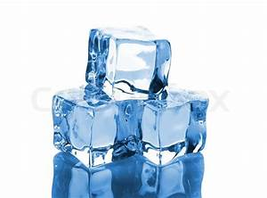 Three Ice Cubes With Reflection Isolated On White Background