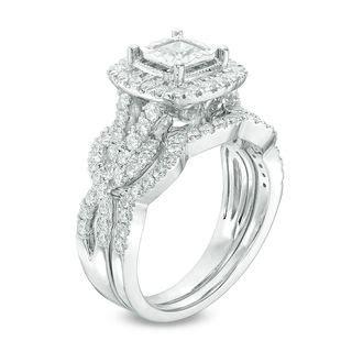 1 1 2 ct t w princess cut frame vintage style twist bridal in 14k white gold