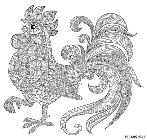 rooster  zentangle style symbol  chinese  year
