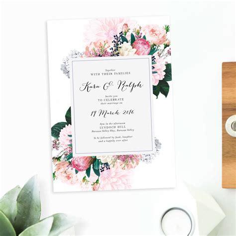native floral wedding invitations sail  swan