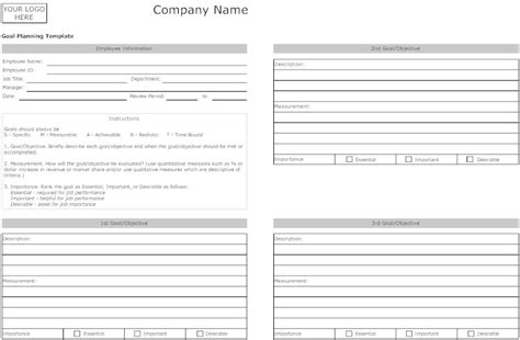 goal planning template business goals template business letter template