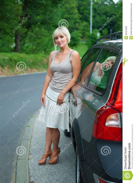 attractive woman   car royalty  stock images