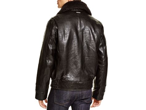 Marc New York Carmine Aviator Leather Bomber Jacket In