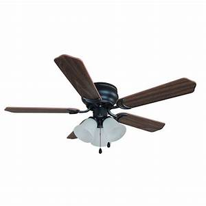 Oil rubbed bronze quot hugger ceiling fan with light kit