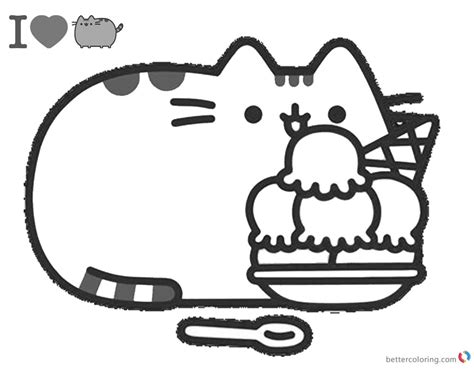 Pusheen Coloring Pages Yummy Iceream