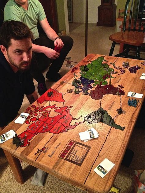 Playable ?Risk? Game Board Carved Into a Coffee Table