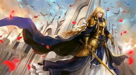 long hair cape alice zuberg girl armor sword