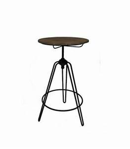Table Haute Bois Metal : table haute de bar style usine en bois et m tal noir ajustable wadiga ~ Teatrodelosmanantiales.com Idées de Décoration