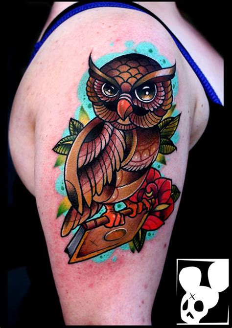 colorful owl arm tattoo  tattoo ideas designs