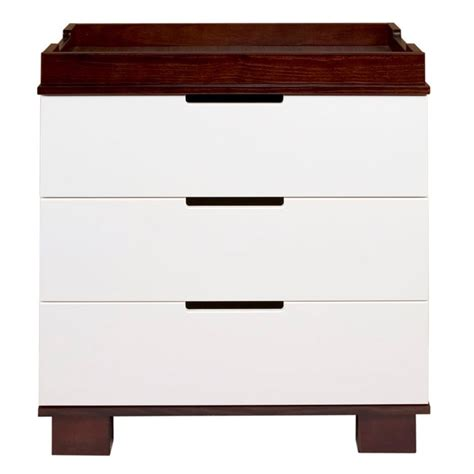 babyletto modo 3 drawer dresser white espresso and white modo 3 drawer changer dresser by babyletto