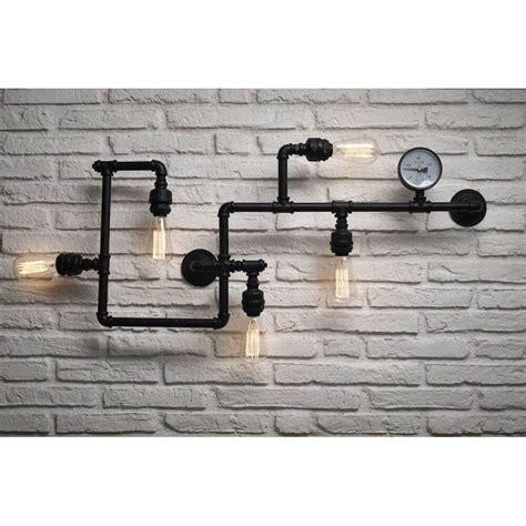 Industrial Vintage Black Pipe Tube Wall Ceiling Bulb Lamps