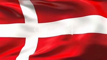 Flag Denmark Satin Creased Slow Motion Wind