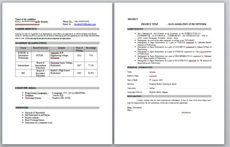 sle resume in word format for freshers fresher resume format for it resume format