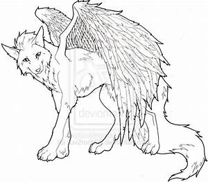 How to draw wolf with wings