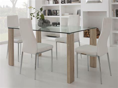 tables de salle a manger en verre table 224 manger en verre avec pied bois longueur 150cm grays