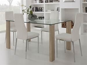 table a manger en verre avec pied bois longueur 150cm grays With deco cuisine pour table a manger verre et bois