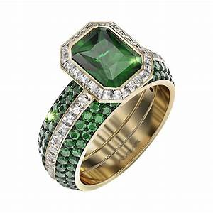 Green Emerald Wedding Ring Set Frame Of Fire