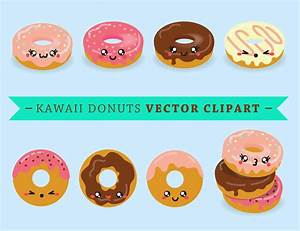 Premium Vector Clipart Kawaii Donuts Cute Donut Clip art