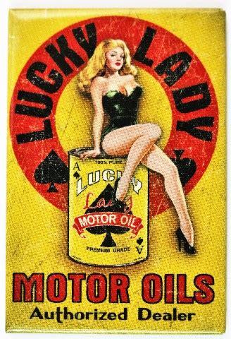 lucky lady motor oil fridge magnet pin  girl ace