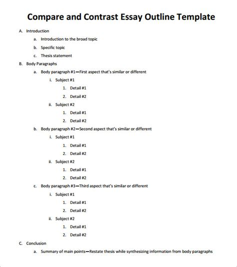 compare and contrast essay outline template essay outline template 9 free free word pdf format free premium templates