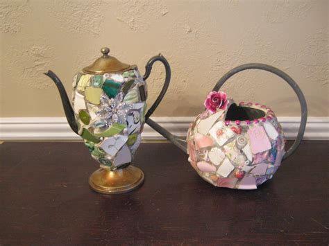 Mosaic Teapot And Watering Can Ready For Spring Mosaic