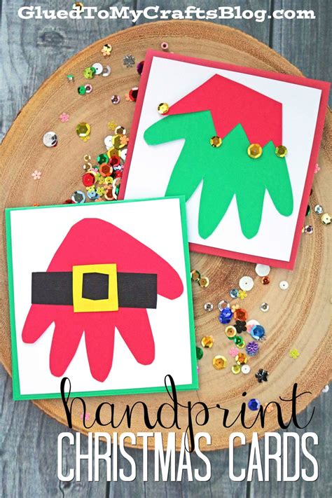 This is one of the simplest christmas card crafts ever, and the result is cute and functional. Santa & Elf Handprint Christmas Cards - Kid Craft - Glued To My Crafts
