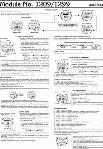 Casio Watch 1299 Users Manual Qw 1209  1299  Operation