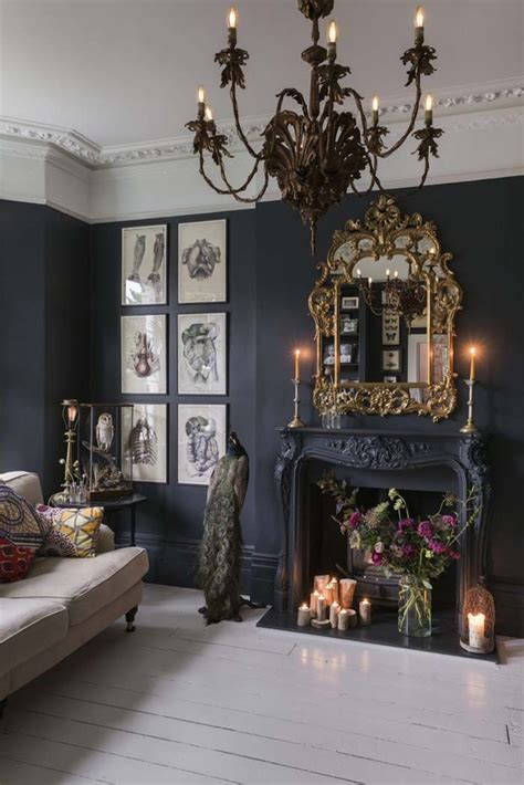 home design gold charming glam boho black walls with white painted floor
