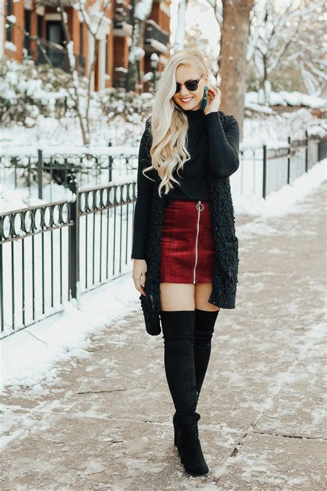 Winter Going-Out Outfit + Over the Knee Boots - Brunch on Sunday