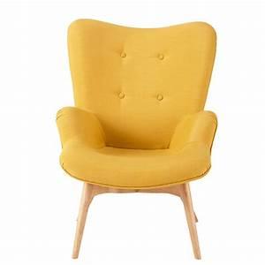 Fauteuil Scandinave Jaune : fauteuil style scandinave jaune maisons du monde ~ Melissatoandfro.com Idées de Décoration