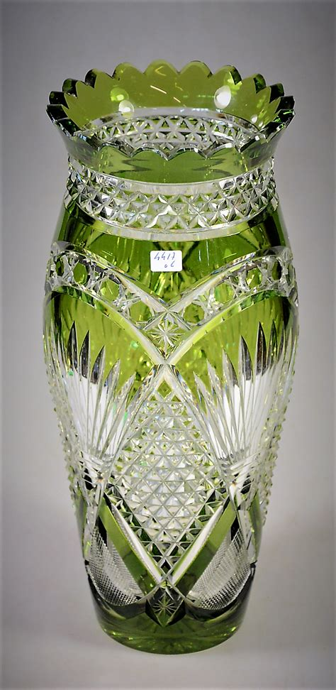 lambert val st vase crystal saint cristal glass glassware antique cut clair vert colours discover porcelain