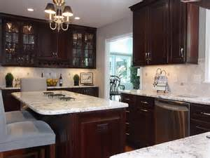 white spring granite dark cabinet backsplash ideas
