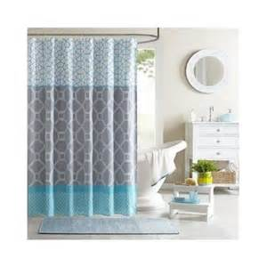 aqua geometric shower curtain teal blue grey bathroom