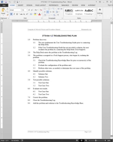 It Support Plan Template by It Troubleshooting Plan Template Itts104 1