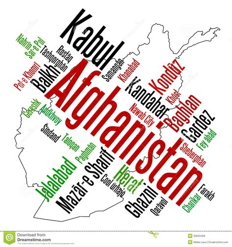afghanistan map and cities royalty free stock photos image 33933458